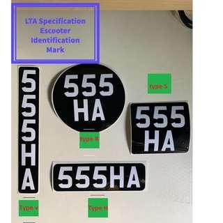 🚚 (Use Caroupay Off $5) E-Scooter License Plate Sticker <LTA Compliant> <Pre-order>