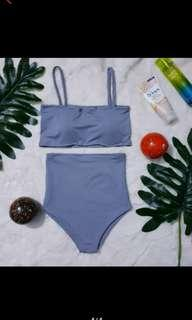 Gray Two Piece high waist swimwear