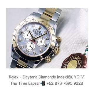 Rolex - Daytona Diamonds Index, Mother of Pearl Dial, Steel & 18K Yellow Gold 'V'