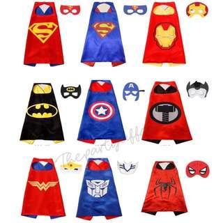 Superhero Cape & Mask Set (Wonderwoman, Spiderman, Thor, Superman, Captain America, Elsa, Princess)
