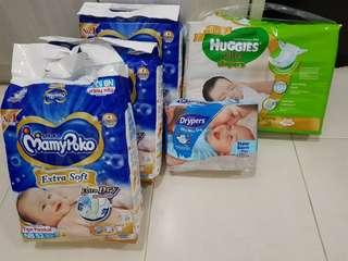 Diapers Huggies, Mamypoko, Dypers NB size