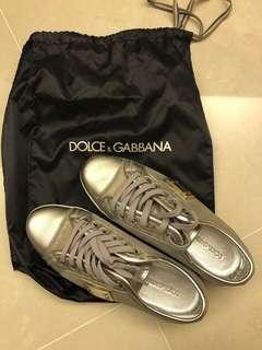 Dolce & Gabbana silver leather sneakers (size: 36)