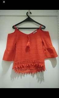 Valley Girl Sabrina Orange Top Blouse