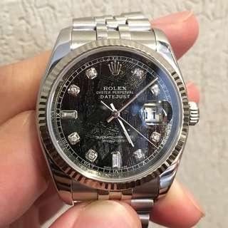 Rolex Datejust 36 mm (116234) with Custom Black Meteorite Diamond Dial