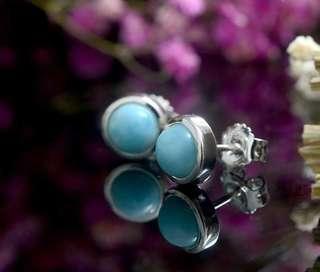 🚚 Relax 純銀手工包鑲天然圓形蛋面拉利瑪貼耳耳環