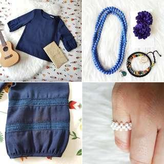FREE POS Peasant Long Sleeve Blouse with Crochet Details in Navy + Boho Jewellery & Accessories Bundle