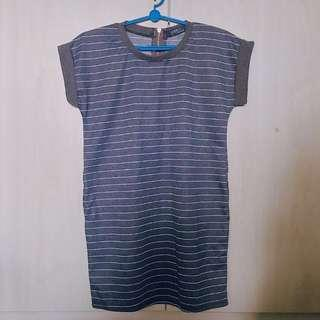 Korean Ulzzang Pinstriped Tshirt dress (Grey)