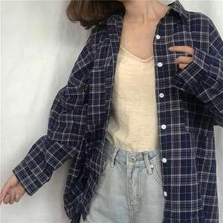 🚚 Navy Checkered Flannel Button Outwear