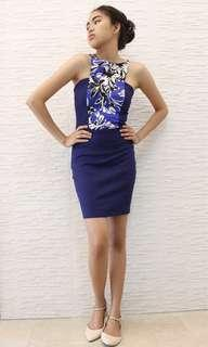Haltered Floral Blue Dress