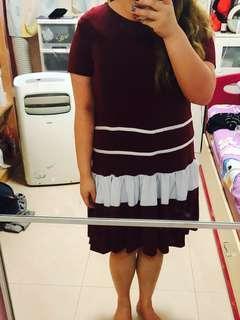 🚚 Maroon office plus size dress