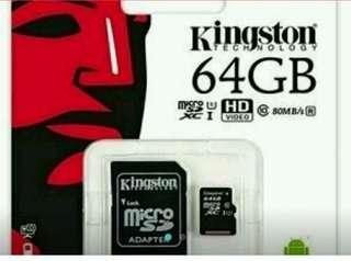 🚚 Kinston金士頓64GB MicroSDXC UHS-1 Class 10 記憶卡 行車記錄器/手機/相機