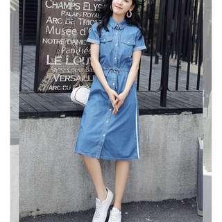 【全新轉賣】女裝XL夏季長裙過膝裙收腰修身時尚氣質牛仔連身裙