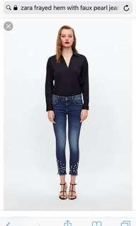 Zara denim jeans with faux pearl