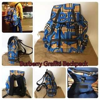 New! 🇬🇧 Burberry Rucksack Graffiti Print Vintage Check Backpack 🎒