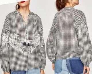 Zara gingham embroidered with tassel top