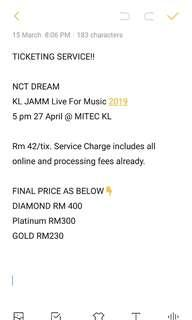 NCT DREAM TICKETING SERVICE!