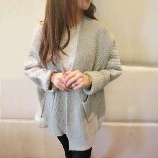 Thick & warm grey cardigan