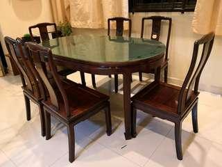 🚚 Rosewood Dining Table with 6 chairs