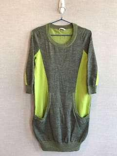 清屋 100%正品 Authentic Jessica RED 灰色 青綠色 雙色 針織 長上衣 連身裙 S碼 Grey/Lime Green knitted long top one-piece dress Size S 新舊如圖 As new condition