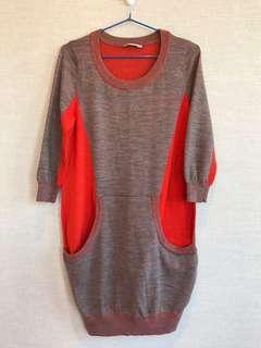 清屋 100%正品 Authentic Jessica RED 灰色 橙色 雙色 針織 長上衣 連身裙 S碼 Grey/Orange knitted long top one-piece dress Size S 新舊如圖 As new condition