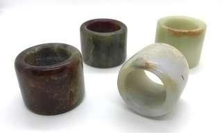 Lot of 4 Vintage Chinese Archery  Jade / Nephrite Thumb Rings