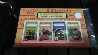 香港电車百周年紀念小型张 18元
