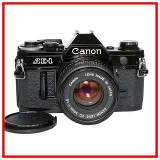 [Rare-Black] Canon AE-1 Film SLR Camera + FD 50mm F1.8