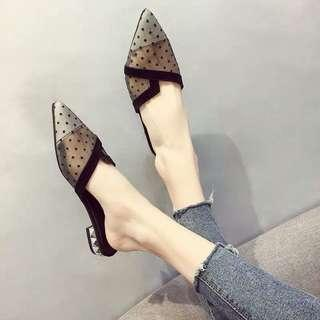 🚚 Chic slippers female summer wear pointed baotou thick with half drag fashion Korean mesh sandals