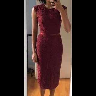 🎉 Dark Red Lace Pencil Dress