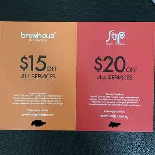 🚚 $15 or $20 off voucher from Browhaus or Strip