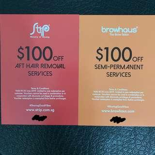 🚚 $100 voucher from Strip or Browhaus