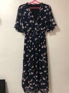 Vintage floral Long kimono maxi dress