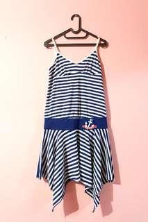 Mididress biru / sailor / nautical theme dress