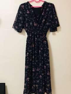 Maxi dress floral kimono Long