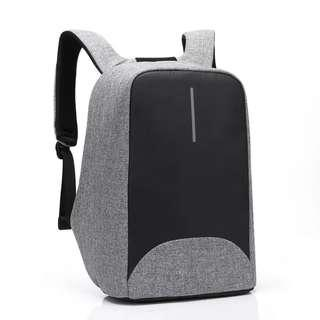 灰色 防盜背包 防水 usb充電口 backpack