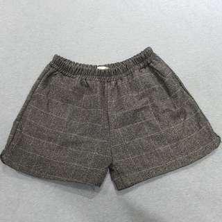 🚚 全新💗時尚灰色毛呢格紋短褲