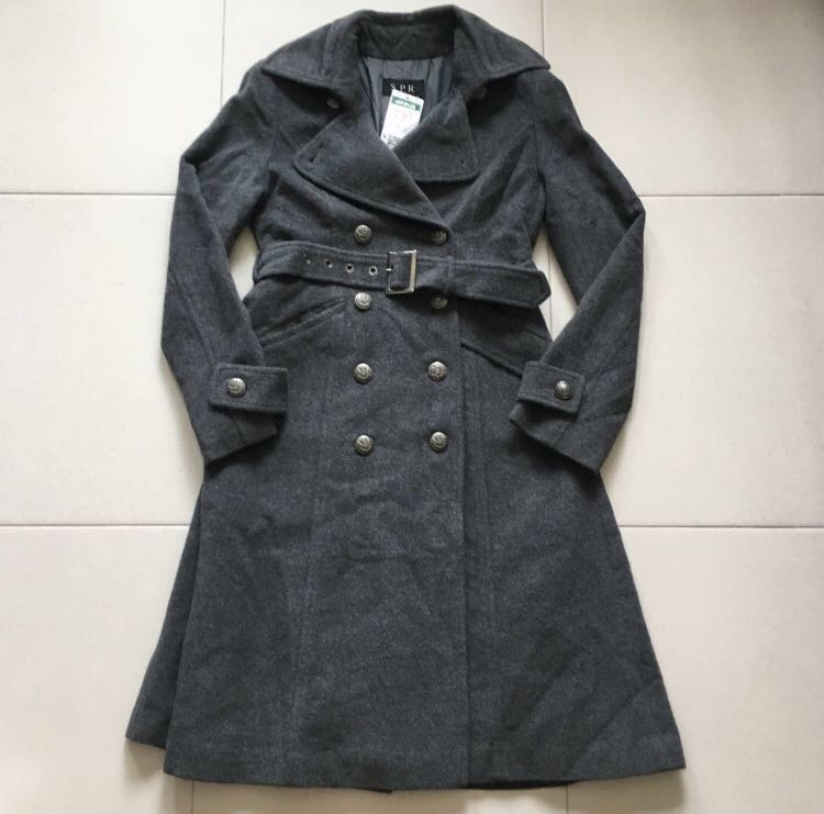 96c1377dac689 BN 100% Pure Wool Fully Inner Lined Skirted Button Pea Coat