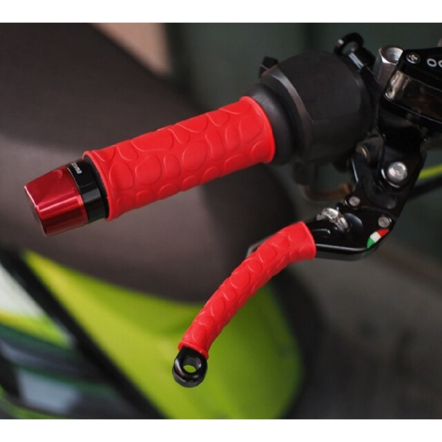 MEIBY Black Red Aluminum Rubber Motorcycle Motorbike Hand Grips for 7/8 22mm Handlebars Car Dash Mounting Kits