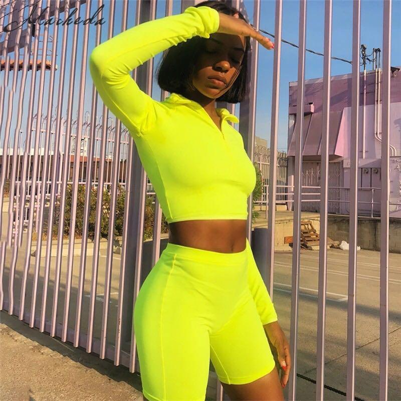 Brand new set of neon long sleeve top and bike shorts