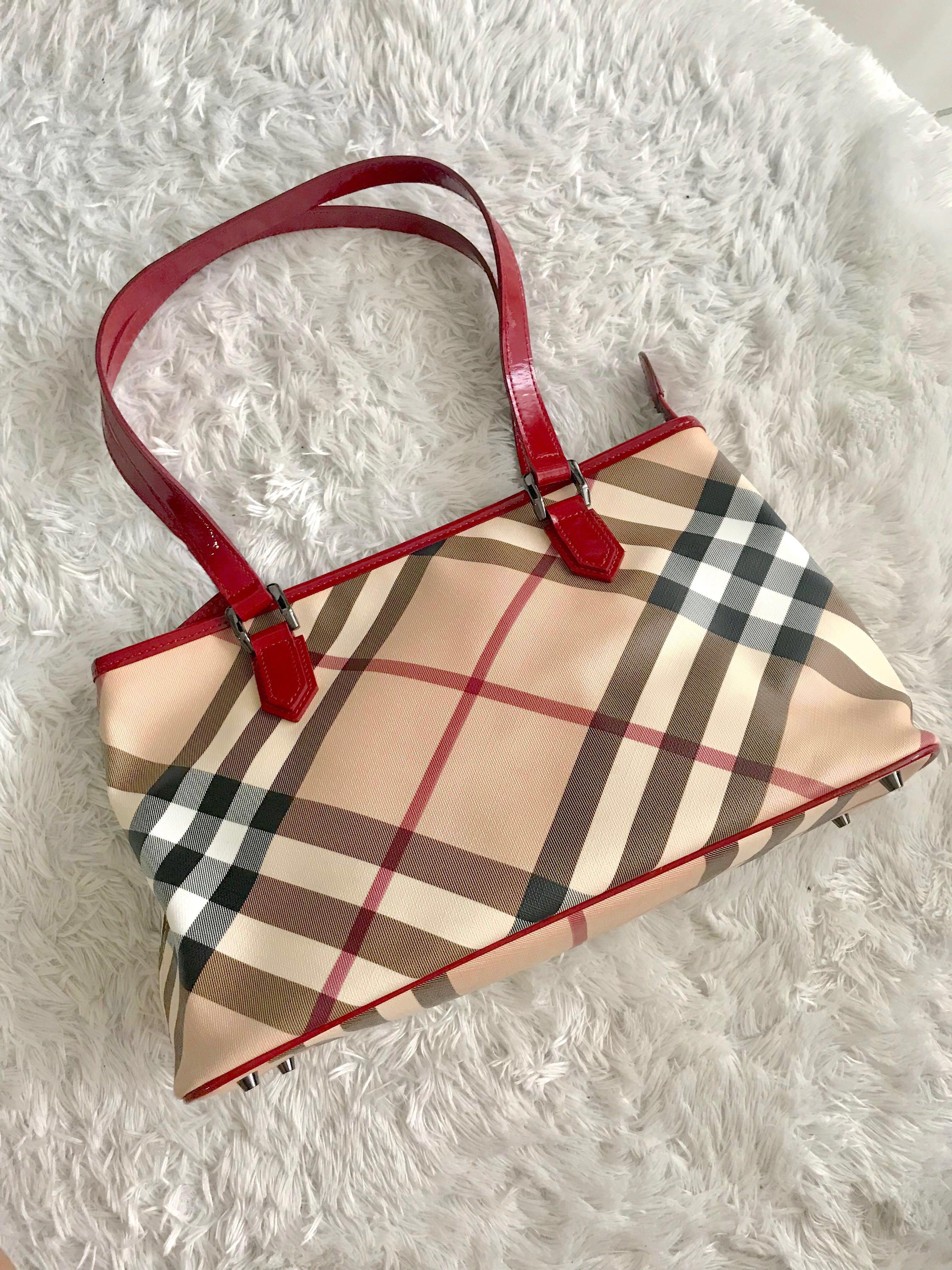 93989bc1d8ff Burberry Nova Regent Red Check Shoulder Tote Bag