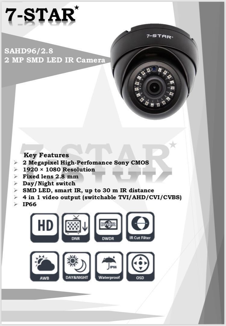 CCTV-7-STAR* 2MP Full HD 1080P High Performance SONY Starvis indoor/outdoor  Smart 18IR Security Dome/Bullet Camera (4 in 1 AHD/TVI/CVI/960H -