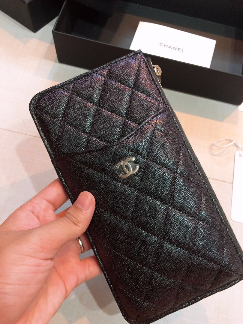 2ceea8a8ed61 Chanel 19s Iridescent Black Pouch, Luxury, Bags & Wallets, Wallets ...