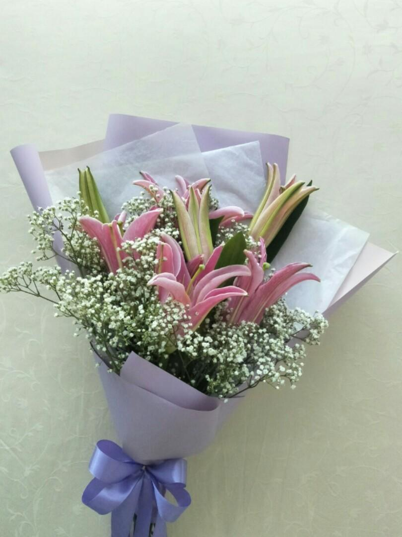 Fresh Lily Flower Bouquet Design Craft Handmade Craft On Carousell