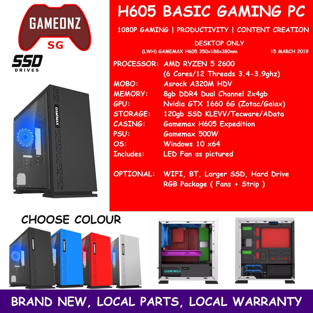 H605 BASIC GAMING PC AMD RYZEN 5 2600 6gb Ram 120gb SSD GTX 1660 6GB NVIDIA  GTX1660