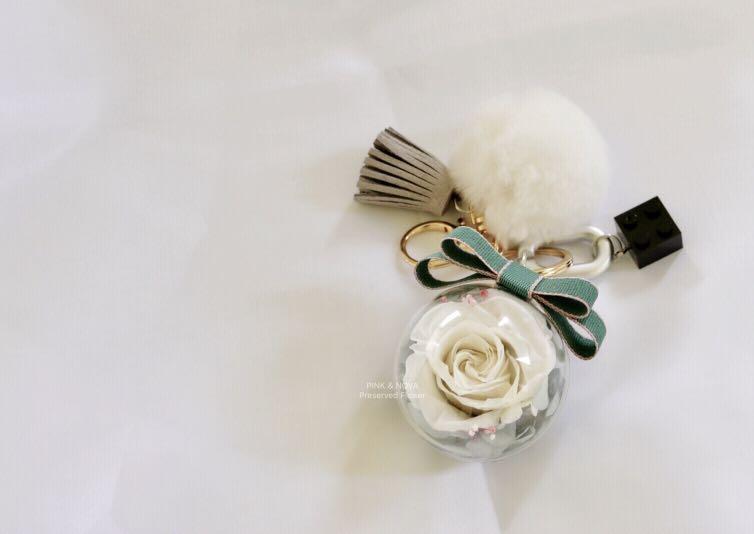 Handmade 5cm preserved fresh flower Keychain/bag decor