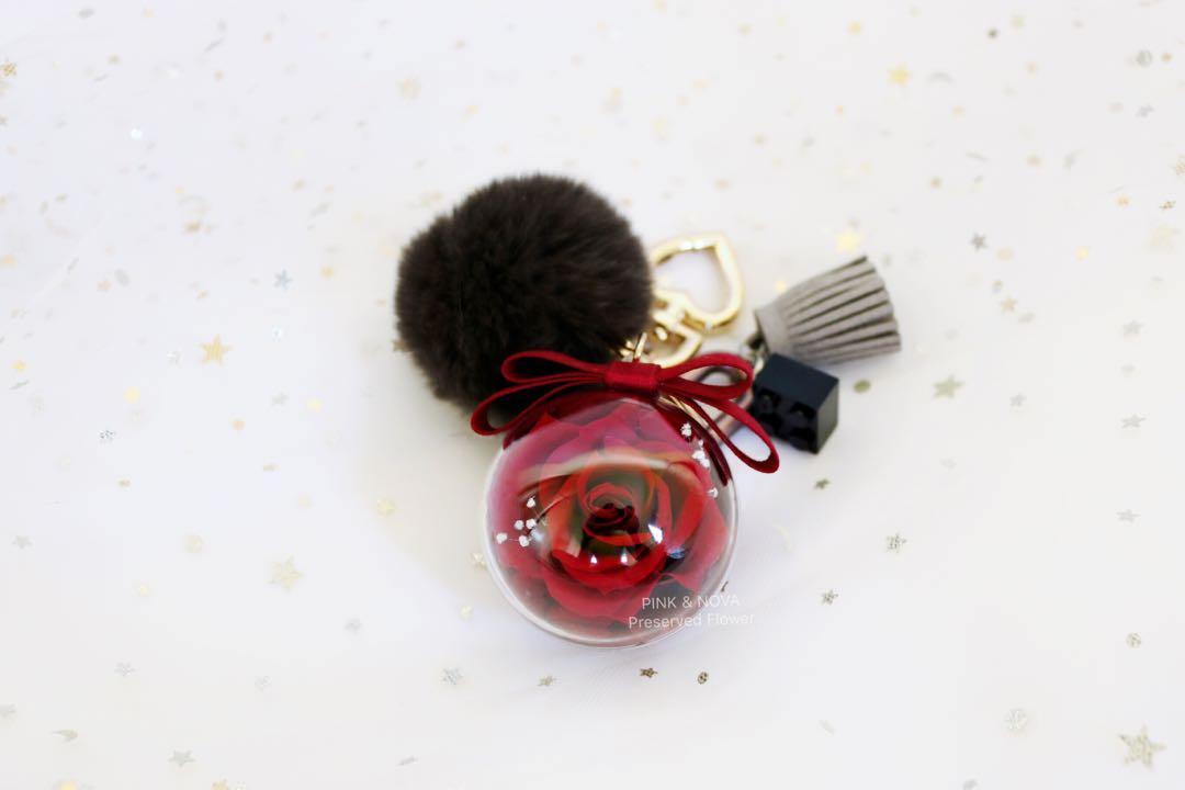Handmade 5cm preserved fresh flower Keychain/bag defoe