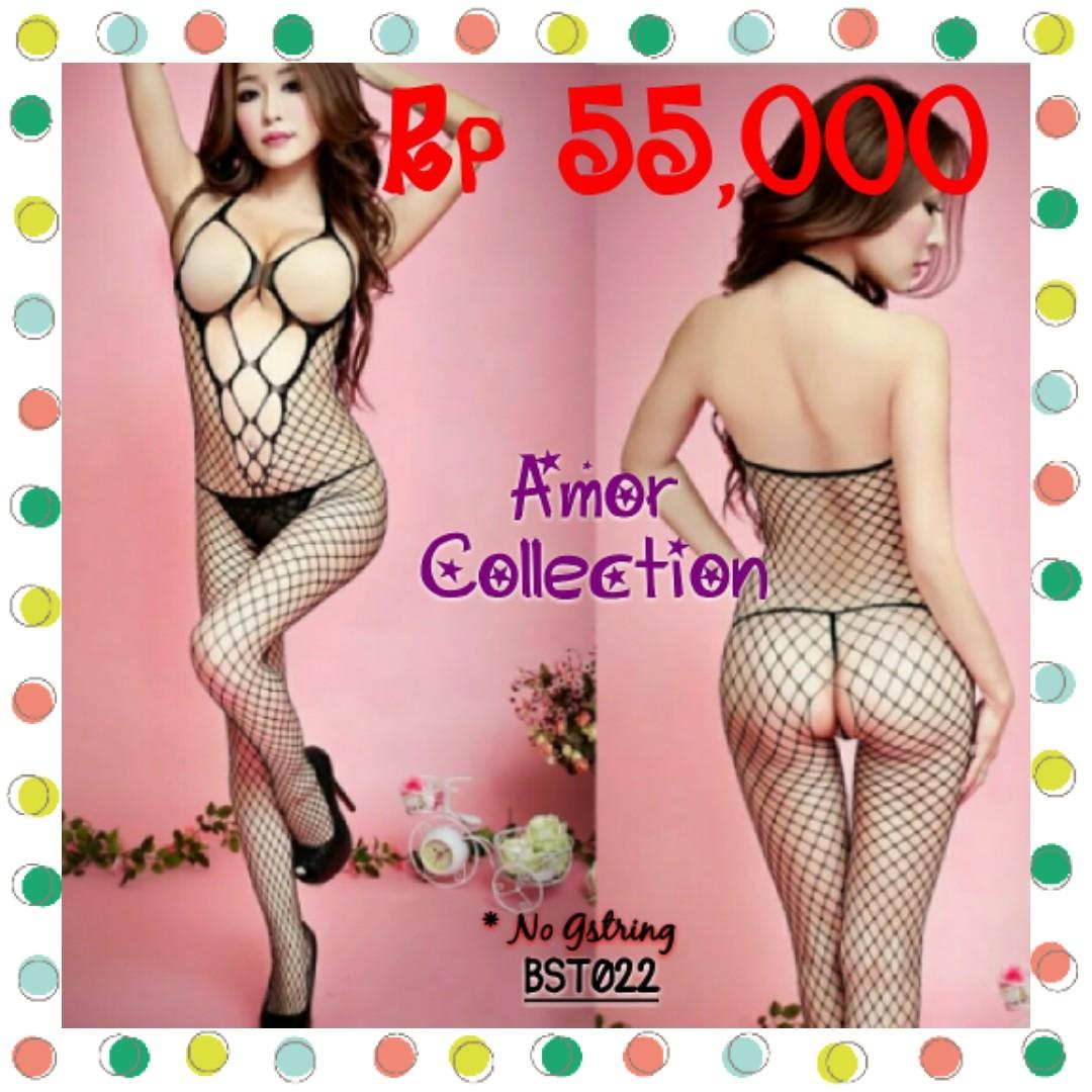 Lingerie seksi bodystoking hitam (BST022) By AMORCOLLECTION