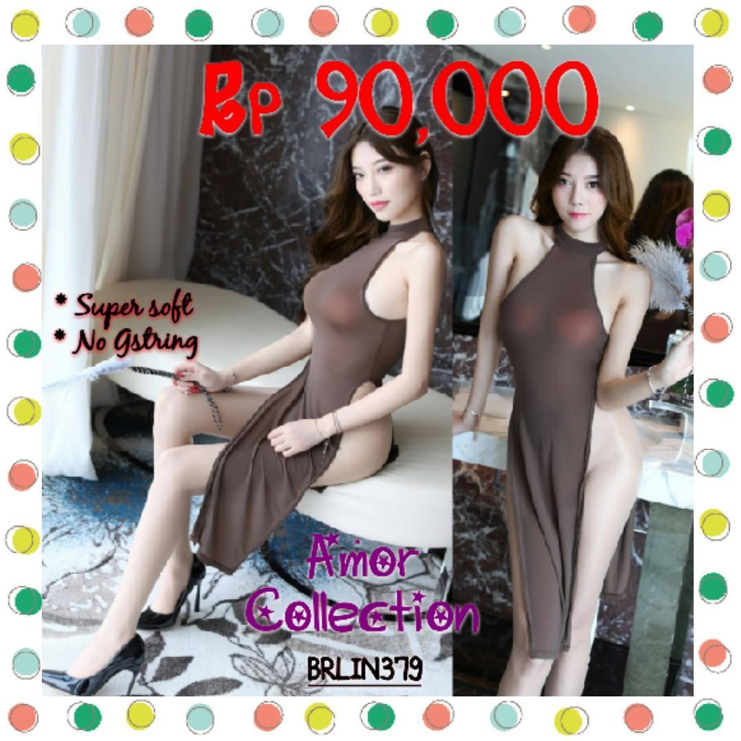 Lingerie seksi cheongsam super soft coklat (BRLIN379) By AMORCOLLECTION