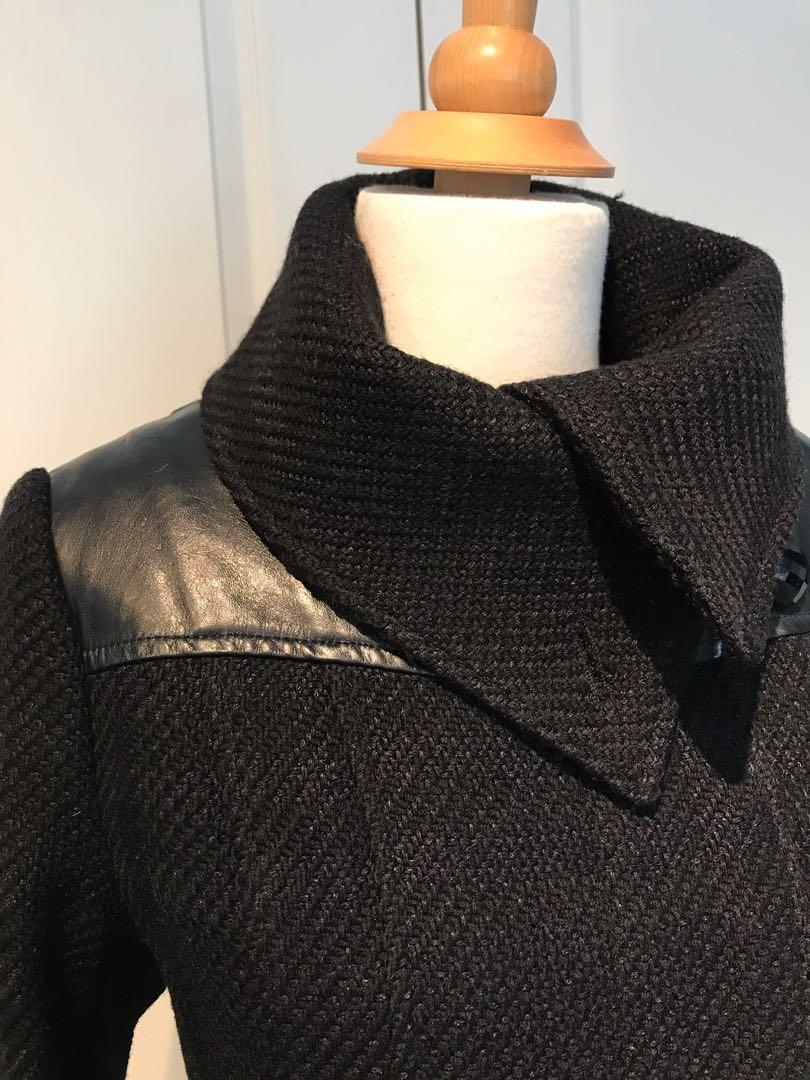 MACKAGE - Small - black - wool coat with leather detailing