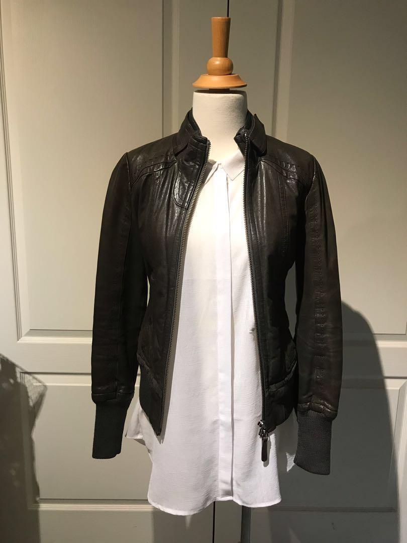 Mackage (Aritzia exclusive) leather jacket - Elie - gunmetal grey, xs